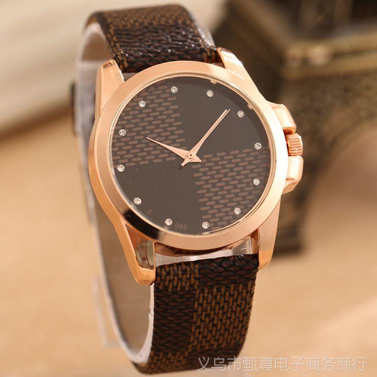 批发韩版时尚手表批发深色格子手表热销皮革合金手表 男女皆宜