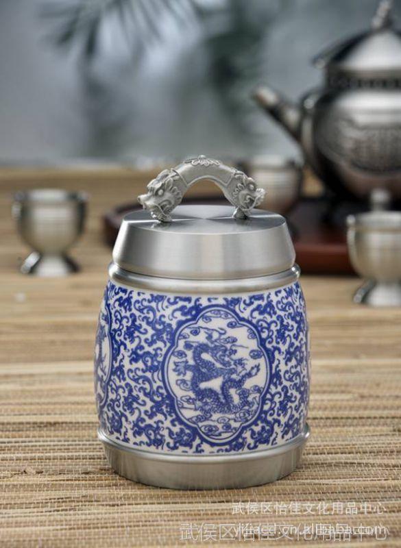 ***纯锡坊龙韵神州茶叶罐 茶具 商务礼品