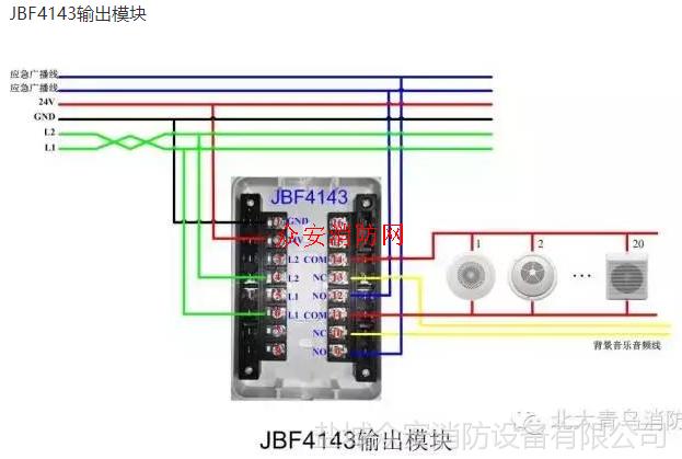公共广播厂家_【北大青鸟JBF4143输出模块(广播模块)_价格 布线 接线 安装 使用 ...