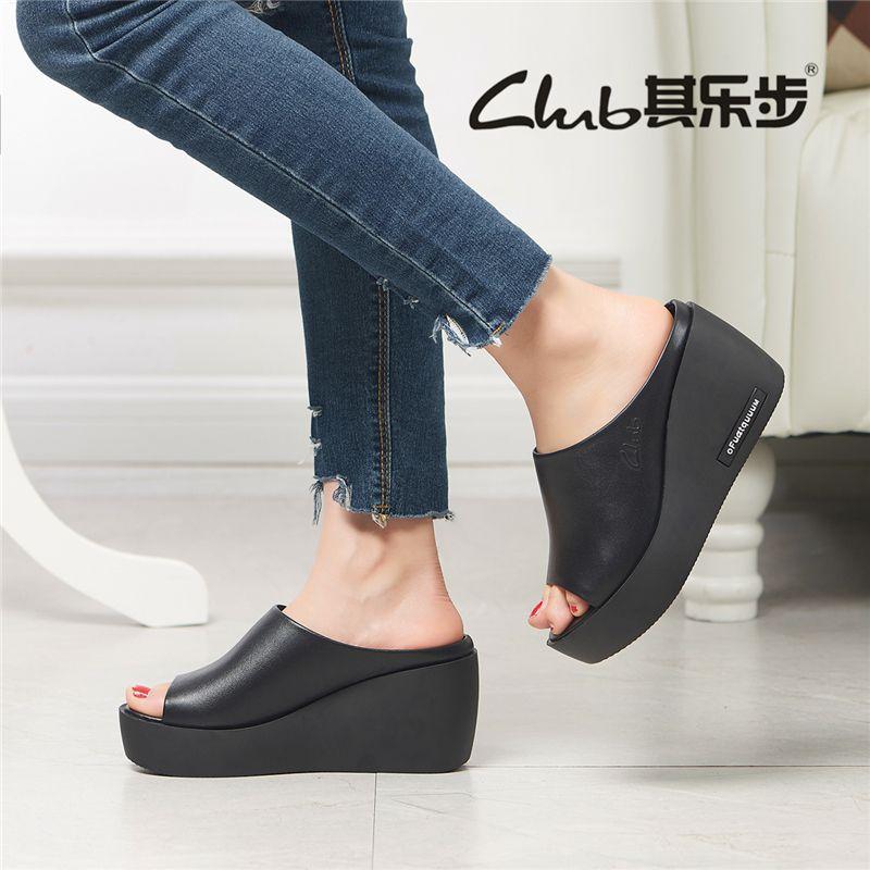 休闲女士拖鞋防水台韩版女拖鞋