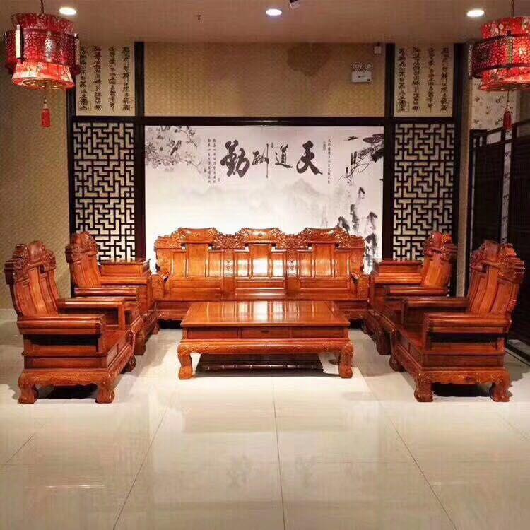 供应酸枝如意沙发10件套 名琢世家红木家具价格 刺猬紫檀兰亭序沙发6件套