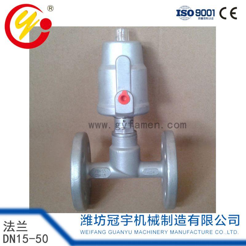 冠宇 氣動角座閥 DN15-50法蘭直角角座閥 不鏽鋼 單作用