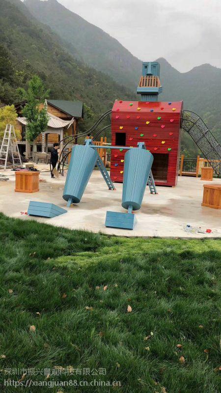 海口生态农庄 公园异形滑滑梯设施 大爬网攀爬架拓展设备定做厂家—振兴