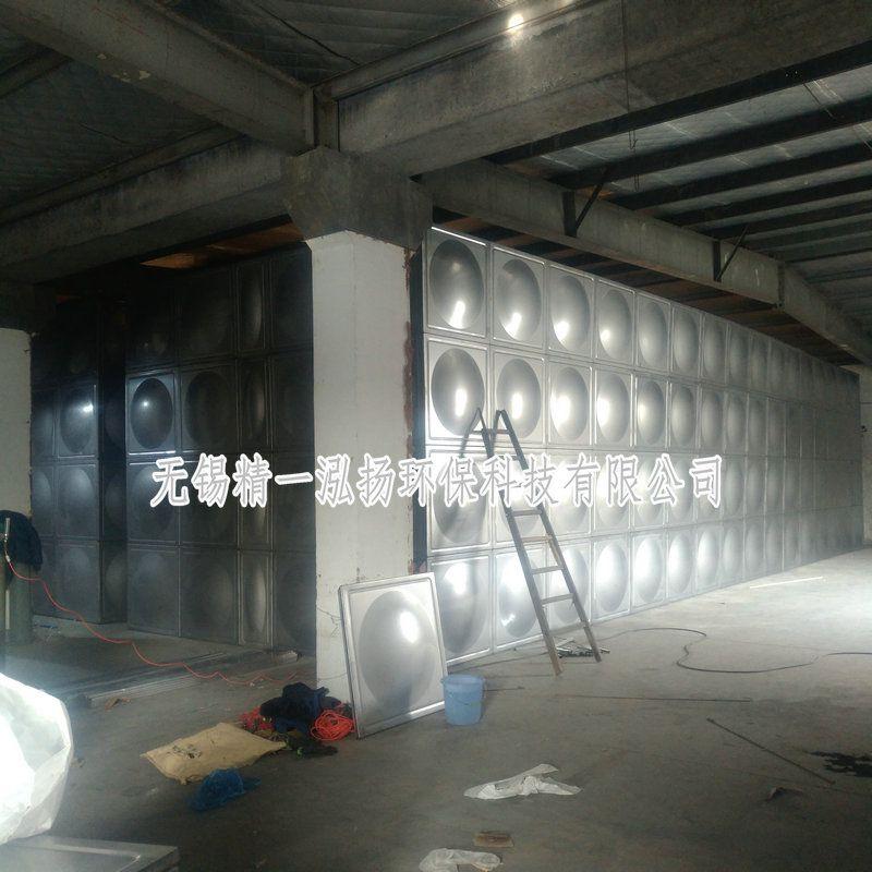 無錫精一泓揚廠家正在現場制作安裝1500噸的水處理不銹鋼水箱