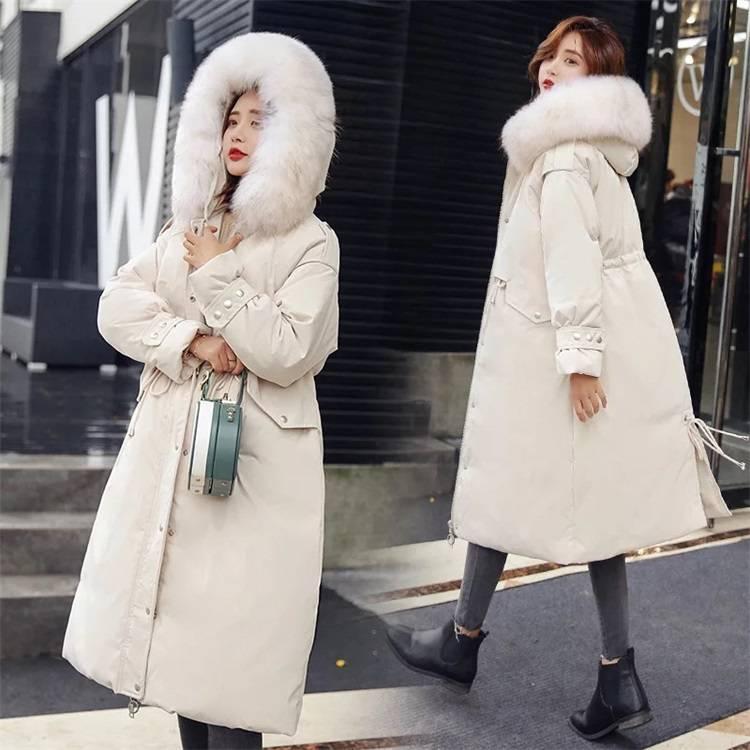 温州服装批发市场 反季清仓羽绒服 中长款加厚大毛领韩版大版连帽外套品牌女装走份