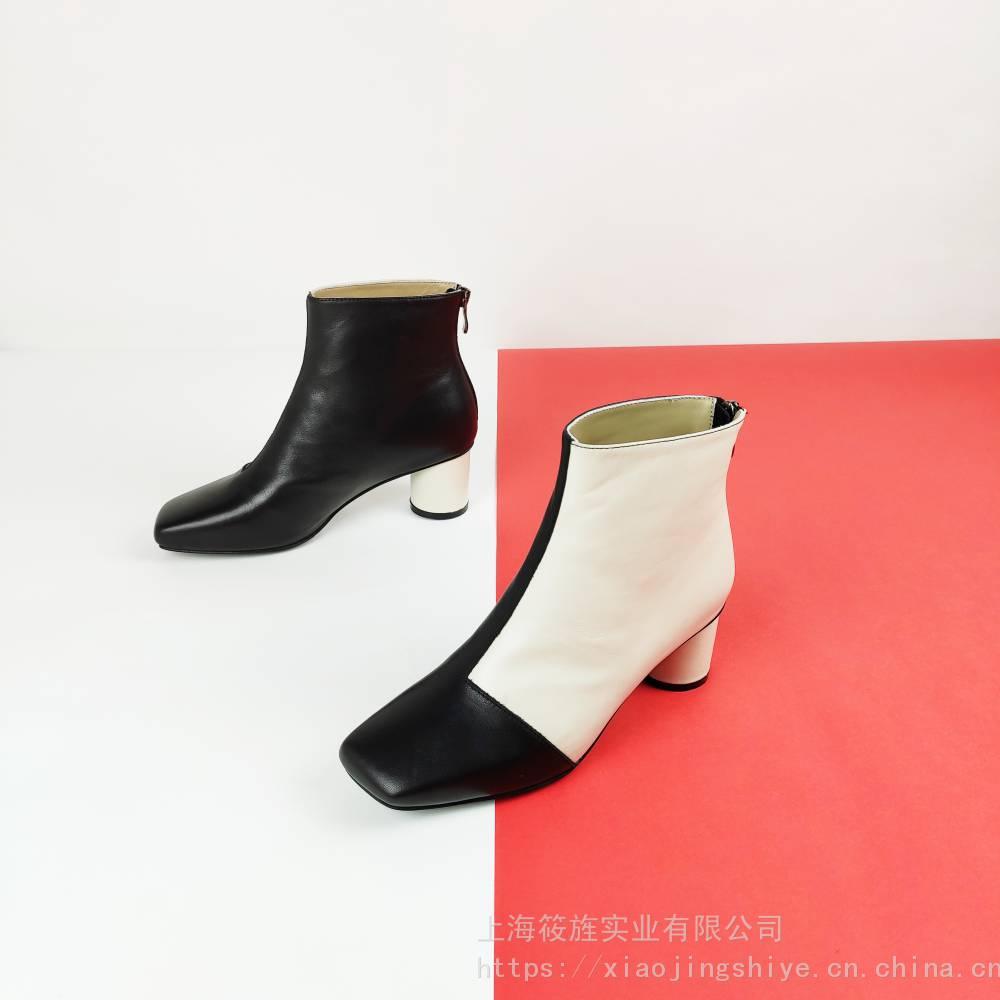 女鞋 真皮皮靴 时尚皮靴 高跟女靴 时装靴 个性撞色女鞋 圆跟女靴