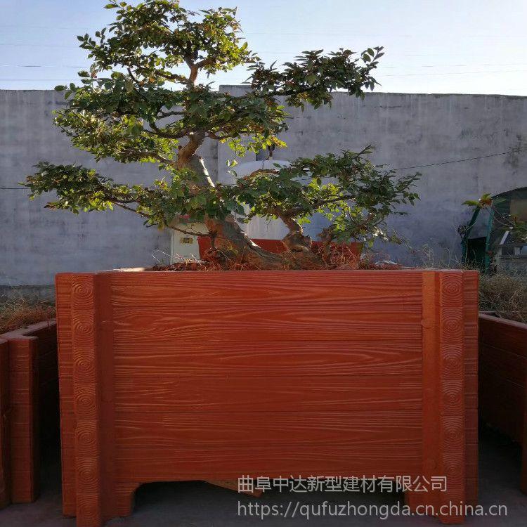 厂家定制各大景区水泥仿木花箱 混凝土仿木花桶