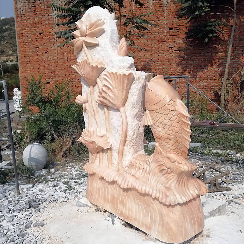 石雕荷花鯉魚晚霞紅戶外室內流水動物植物噴泉景觀裝飾雕塑擺件曲陽萬洋雕刻廠家定做