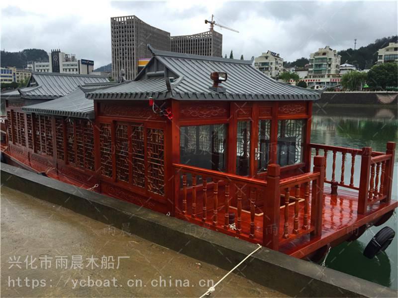广西河池市画舫木船厂家直销14米画舫船