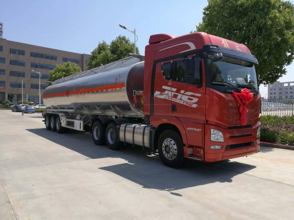 33吨解放J6铝合金半挂运油车