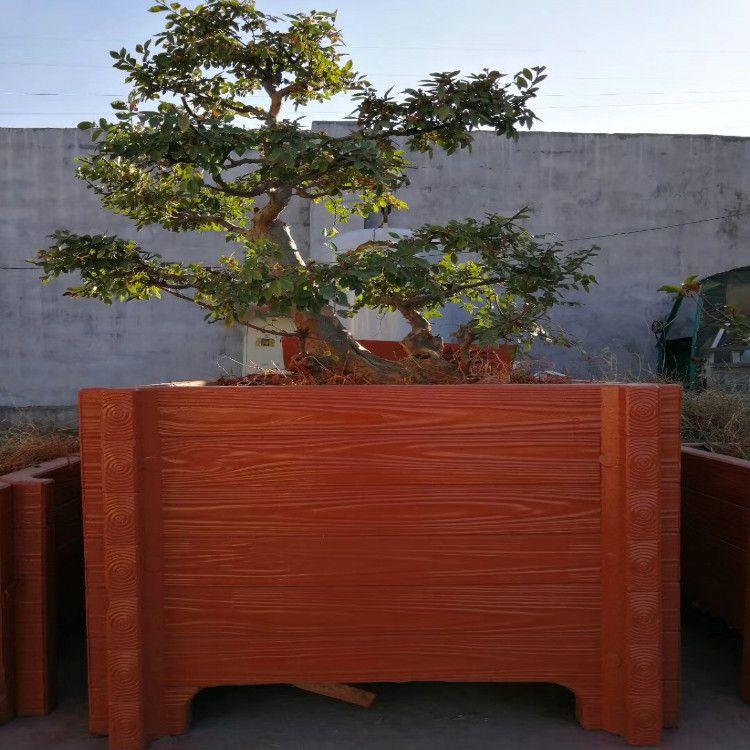 中达建材厂家供应河提水泥仿木景观花箱护栏 混凝土仿木花桶