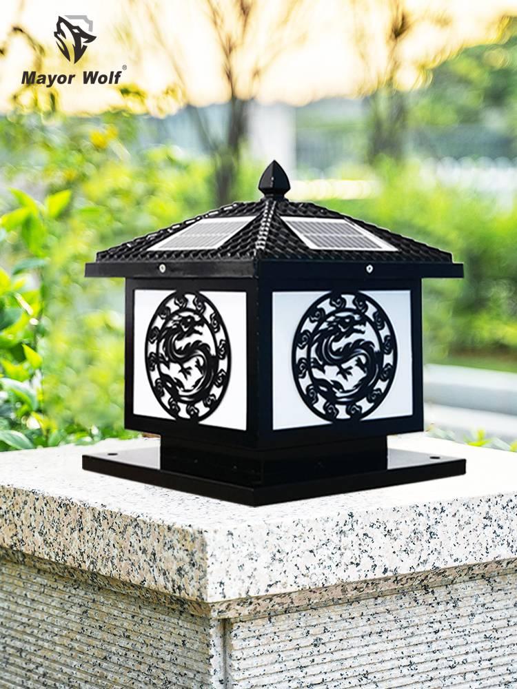 太陽能柱頭燈太陽能路燈廠家批發別墅花園庭院景觀燈
