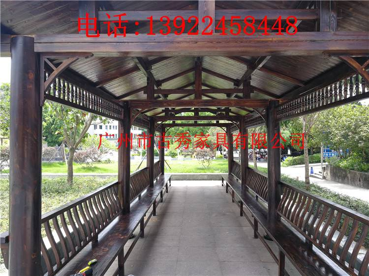 防腐木仿古长廊,中式实木走廊,防腐木走廊