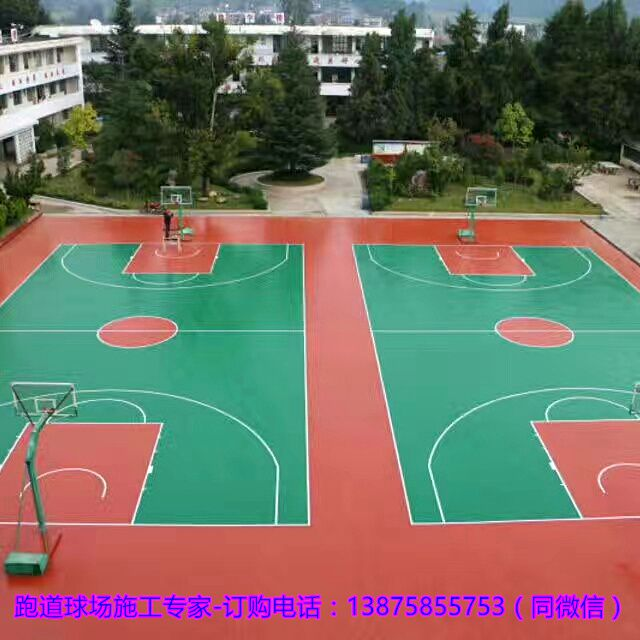 长沙室内篮球场地胶铺装|望城学校塑胶体育场地面施工方法