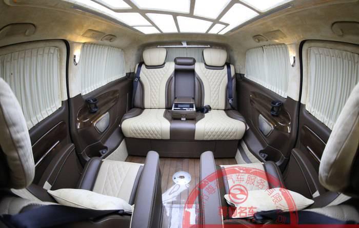 深圳改装威霆迈巴赫航空座椅沙发床地板隔音全车真皮包覆升级定制