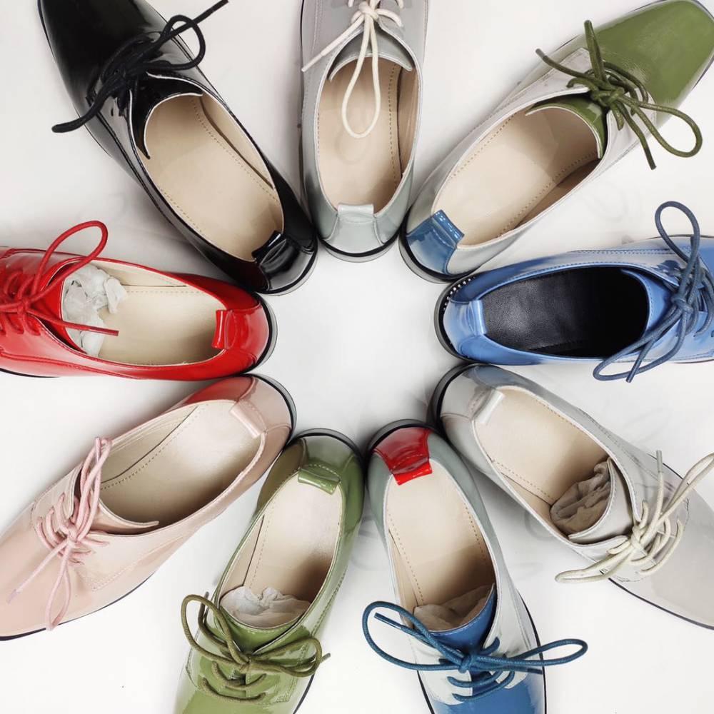真皮女鞋 系带女鞋 时尚休闲女鞋 休闲皮鞋 英伦复古皮鞋 漆皮细带鞋 低跟女鞋