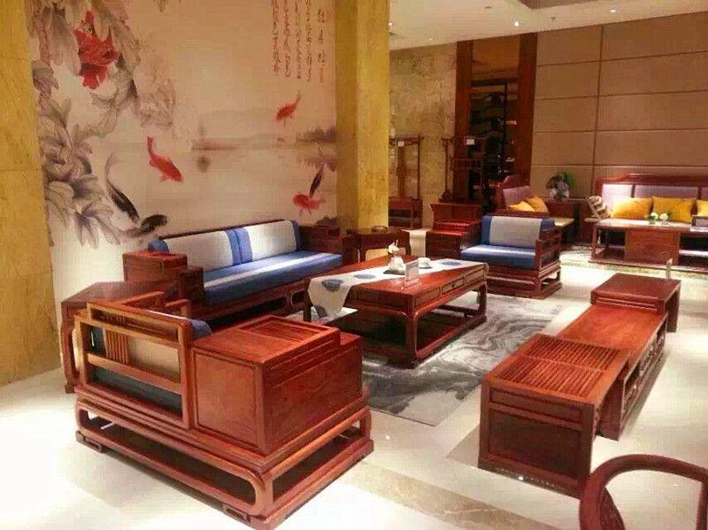 刺猬紫檀新中式江南沙发123六件套实拍视频名琢世家