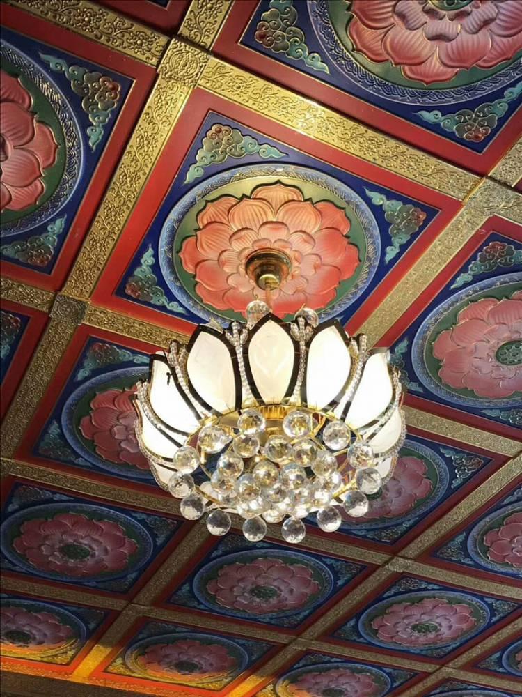 仿古建筑彩繪壓邊條 寺院佛堂天花板吊頂橫梁裝飾板材料