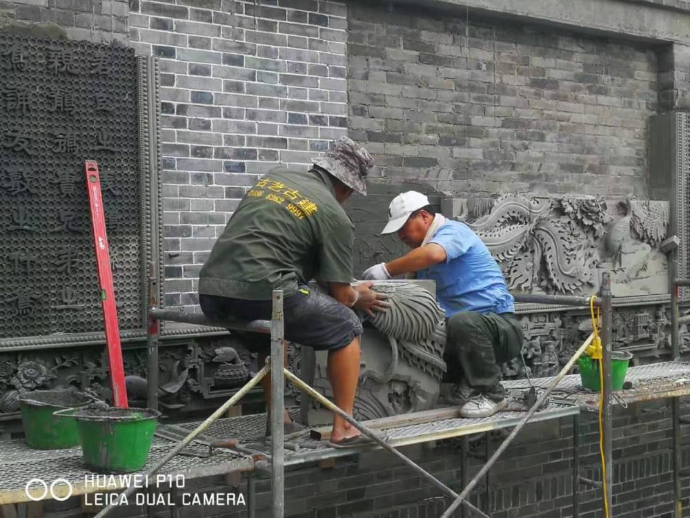 苏州古艺古建别墅精品砖雕安装施工