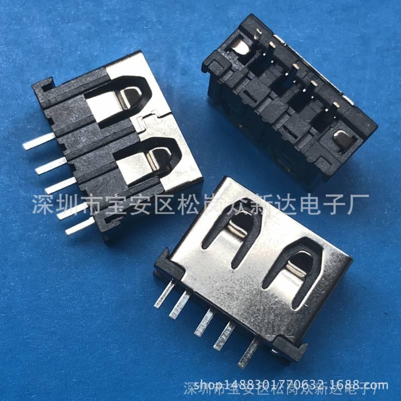 带开关USB 5P母座带检测脚180度直插短体立式5P直插带侦测脚10.0