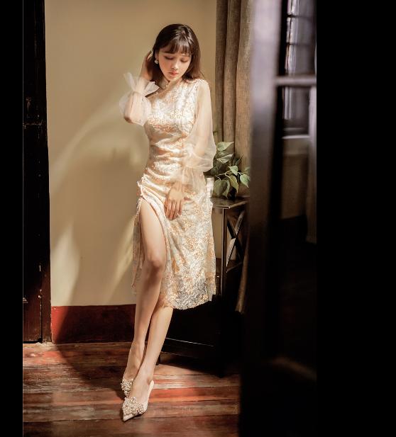 重工刺绣网纱旗袍连衣裙 广州红棉批发商圈 品牌折扣女装批发