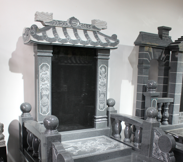 墓碑款式 传统房屋造型碑顶-福建和之石雕