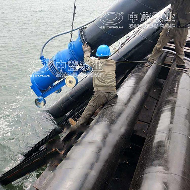中吸式 大流量1500m³潜水轴流泵 现场出水