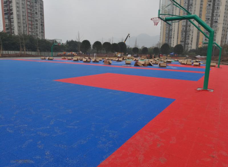 水土篮球场PEMD塑胶颗粒,篮球场实景效果,可现场参观