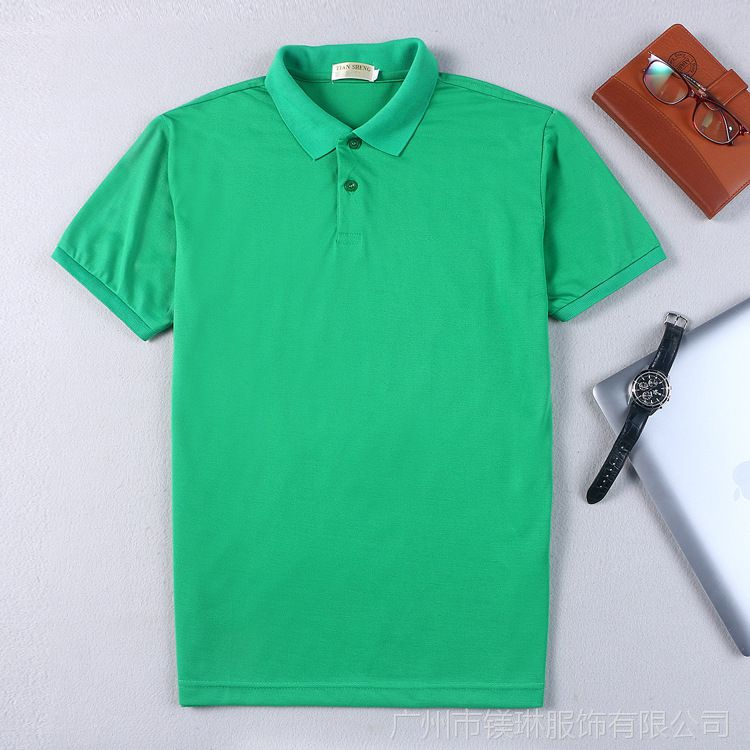 广州天河厂家定制翻领广告衫T恤免费丝印LOGO丝光棉珠地文化衫