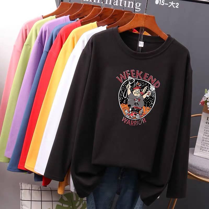 99包郵女裝2022秋裝新款韓版條紋寬松顯瘦女士學生長袖t恤女上衣