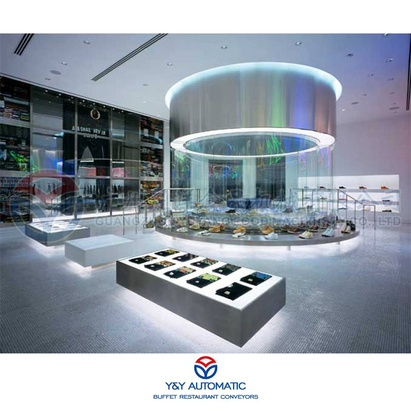 广州昱洋移动展示设备_橱窗商品机动式展示柜_可动展示输送机