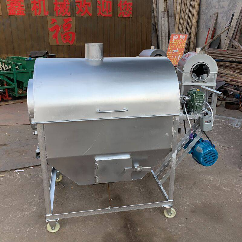 50斤花生瓜子炒货机 小型滚筒炒锅 电加热芝麻炒料机视频