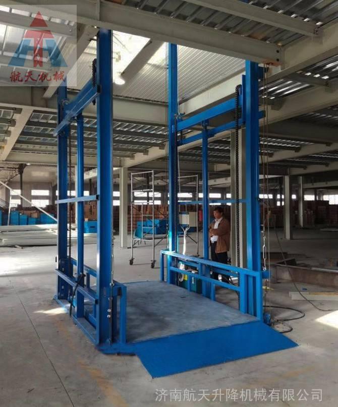 温州厂房货梯 室内升高6米载重2吨导轨式升降货梯 航天 厂家定做
