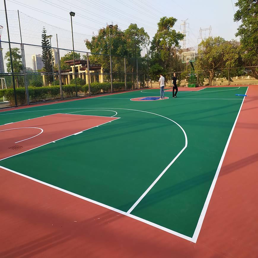 塑胶篮球场场,室外硅pu篮球场造价图片