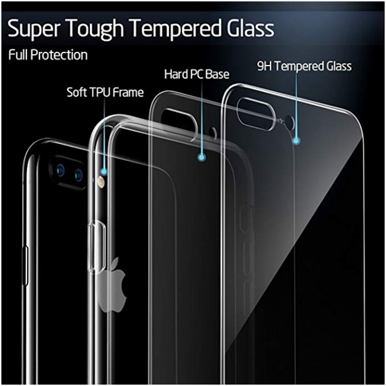 玻璃背板硅胶软边防爆防摔手机壳