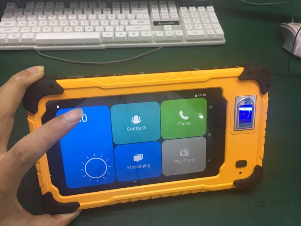 7寸Android系统RFID指纹识别二维条码手持移动作业终端