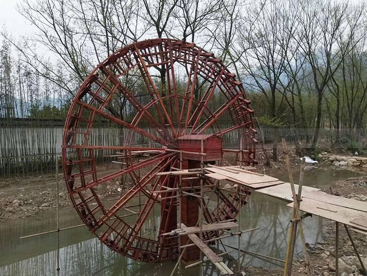 定制大型观光园林电动景观水车 防腐木脚踏水车