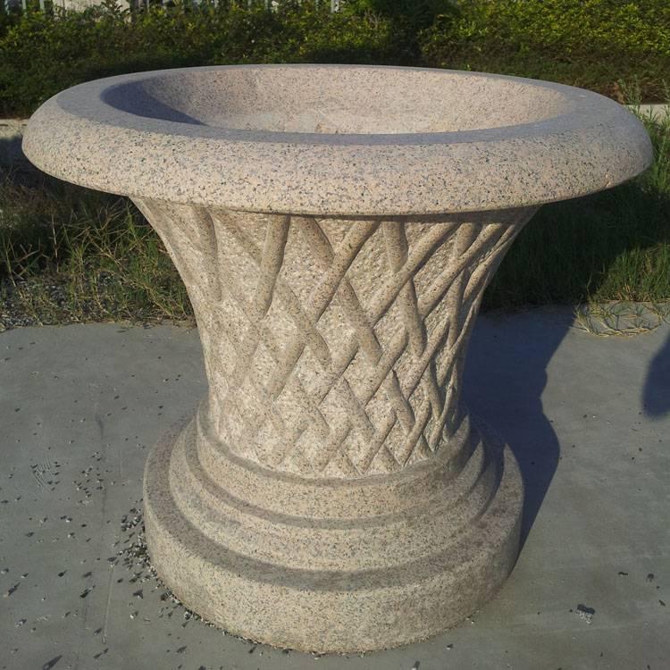 福建石雕花钵 花岗岩石雕花盆欧式水钵 鱼缸摆件水池