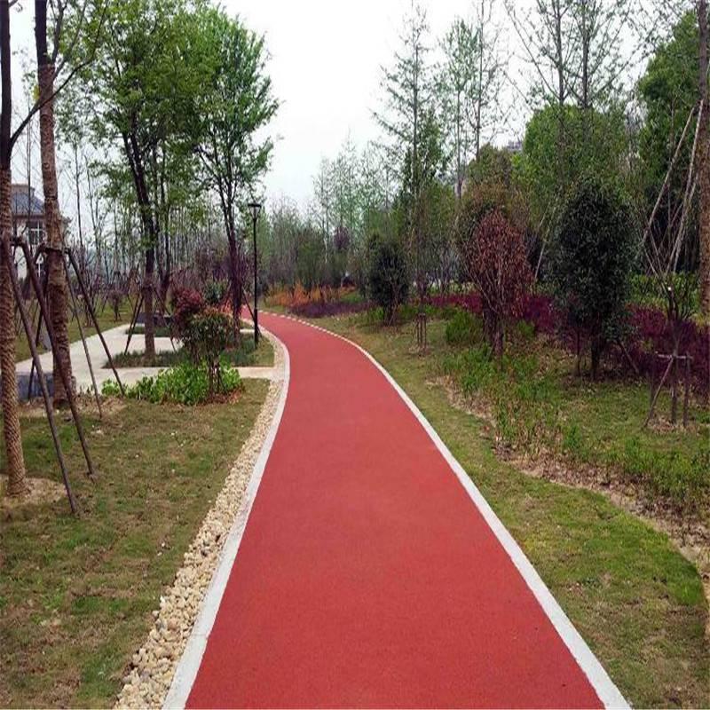 彩色防滑路面 景辉绿道陶瓷颗粒路面胶粘剂