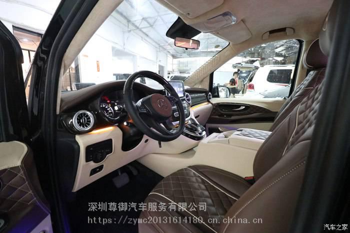 深圳奔驰威霆改装航空座椅沙发床全车真皮包覆翻新木地板定制升级