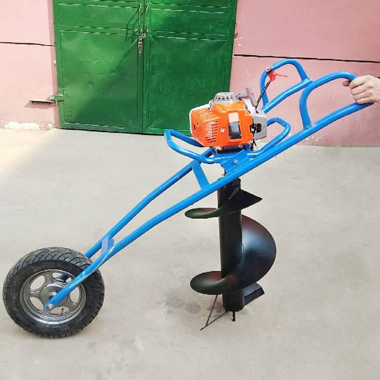 手推獨輪挖坑機/埋樁立柱打眼機/牽引式挖坑機價格