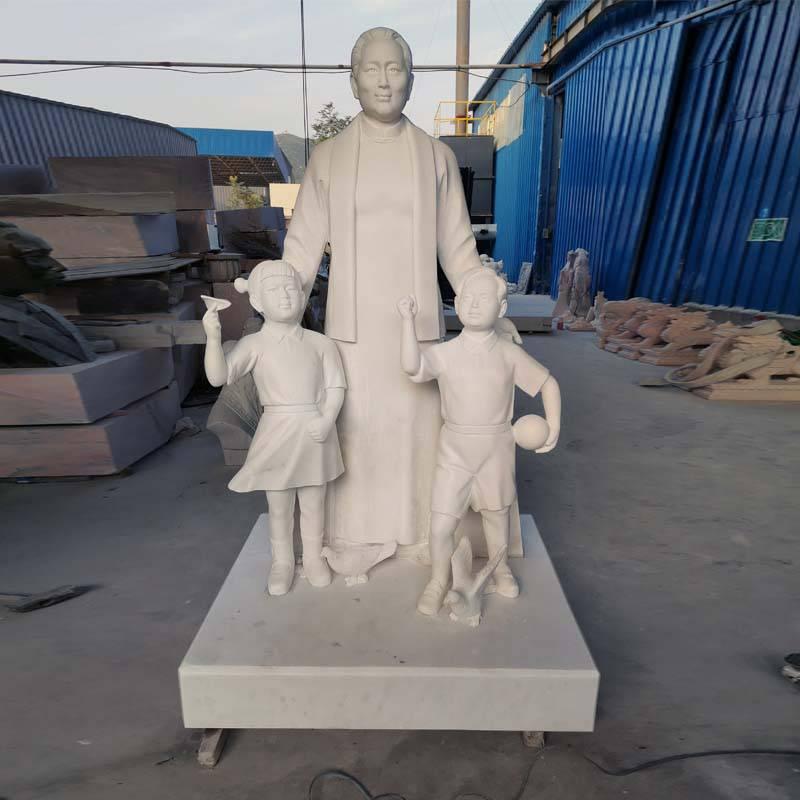 石雕宋慶齡漢白玉校園文化教育革命名人偉人人物站像雕塑擺件曲陽萬洋雕刻廠家定做