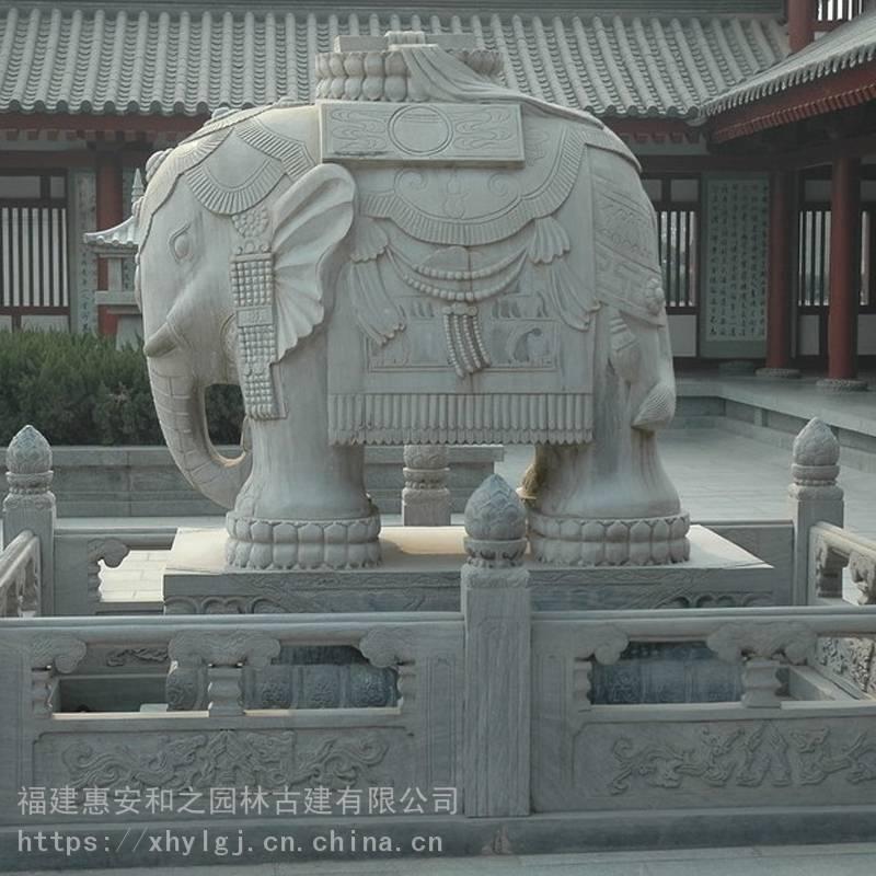 石雕刻猴子和大象 石雕大象摆放门口 白麻石大象