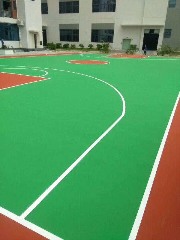 硅PU篮球场施工完视频