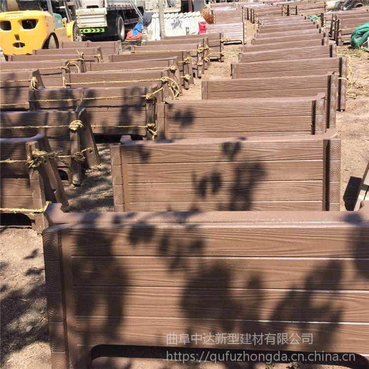 新密厂家直销户外景观组合水泥仿木花槽花箱花桶
