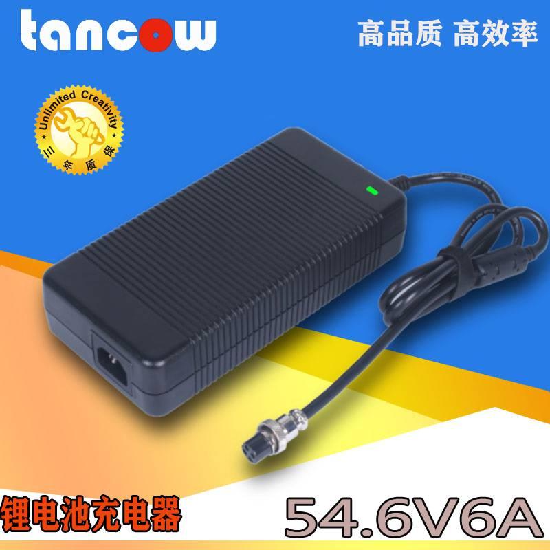 54.6V6A警用设备锂电池充电器 48V充电器 工业医疗开关电源适配器
