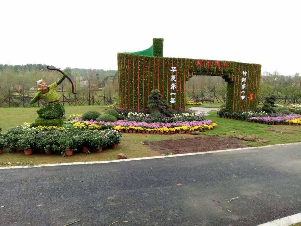 陜西銅川蝴蝶造型鏤空綠雕建筑物入口仿真綠雕定制
