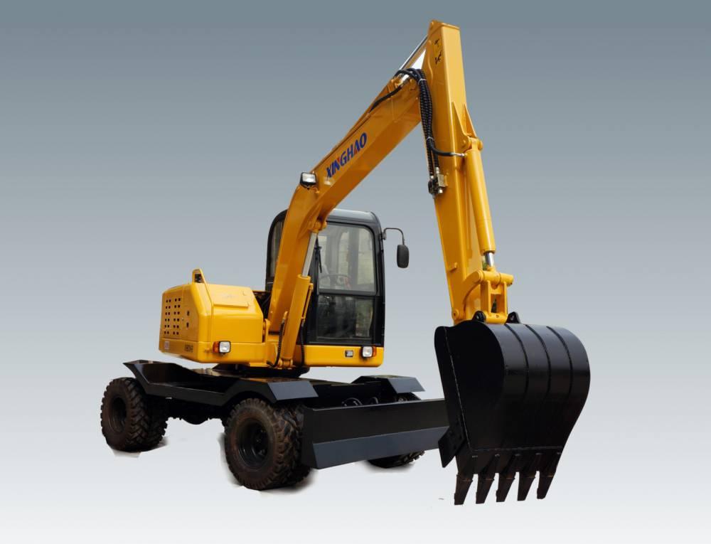 福建興皓75輪挖90輪式挖掘機帶柱塞泵對比新源75輪挖價格