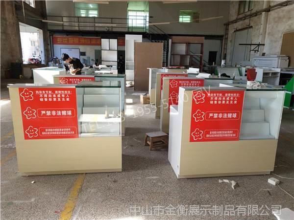 襄阳新款体彩展示柜收银台 刮刮乐玻璃柜连体吧台柜设计