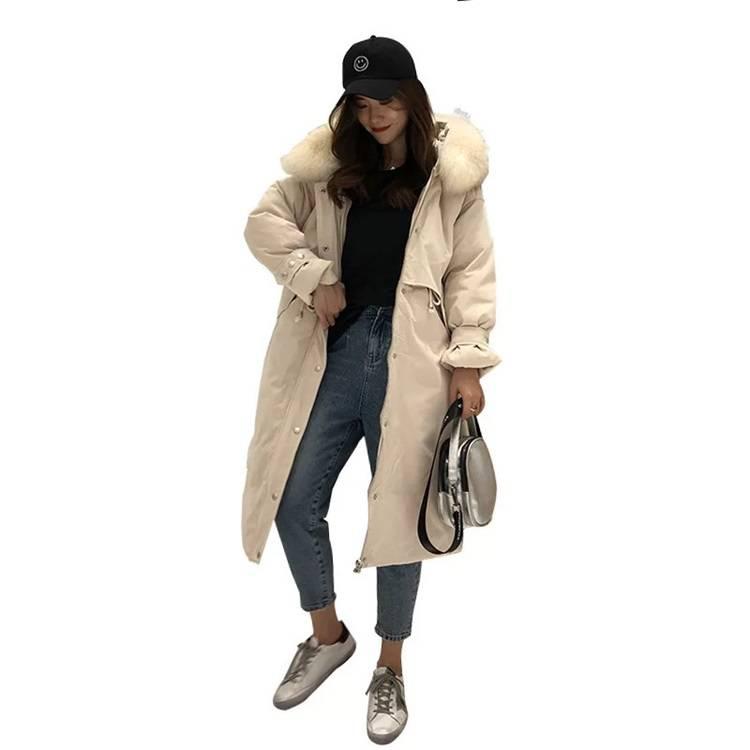 广州十三行服装批发市场 2019反季节冬装韩版羽绒服中长款大毛领宽松大码 尾货